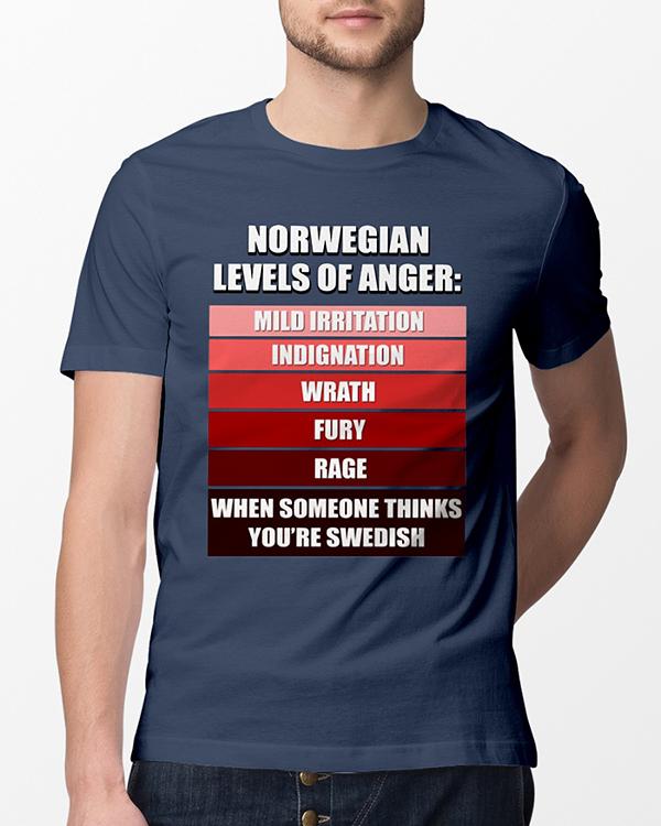 Norwegian levels of anger mild irritation indignation wrath fury rage shirt