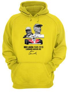 Niki lauda 1949-2019 legends never die signature shirt