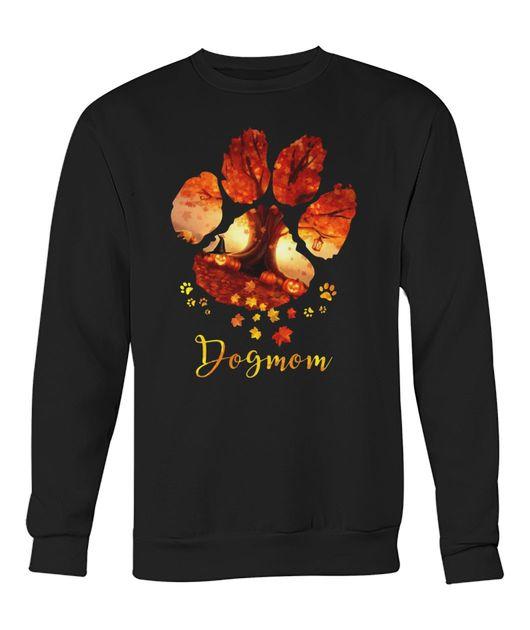 Dog paws mom autumn leaves halloween shirt