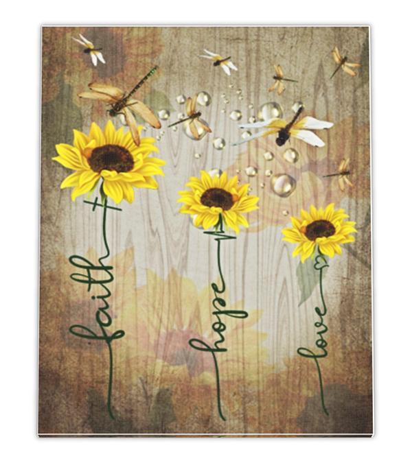 Sunflower dragonfly faith hope love canvas prints