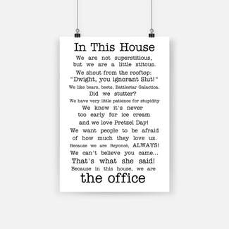 The office tv show in this house quotes poster