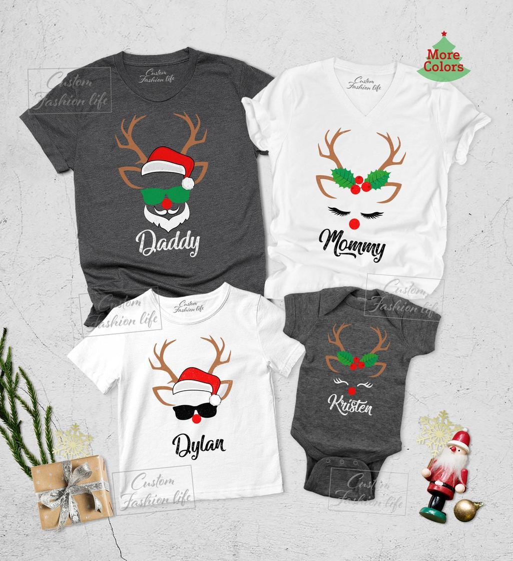 Christmas reindeer and santa shirt