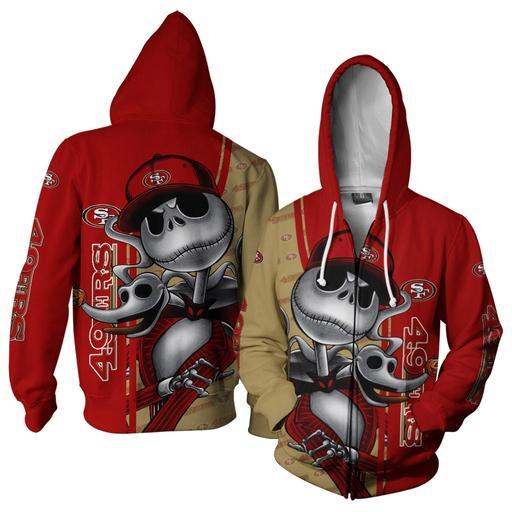 Jack skellington and zero san francisco 49ers 3d hoodie