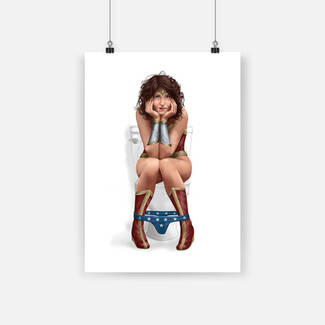 Superhero bathroom wonder woman on the toilet poster