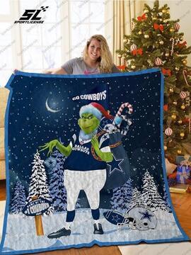 The grinch santa claus dallas cowboys christmas blanket