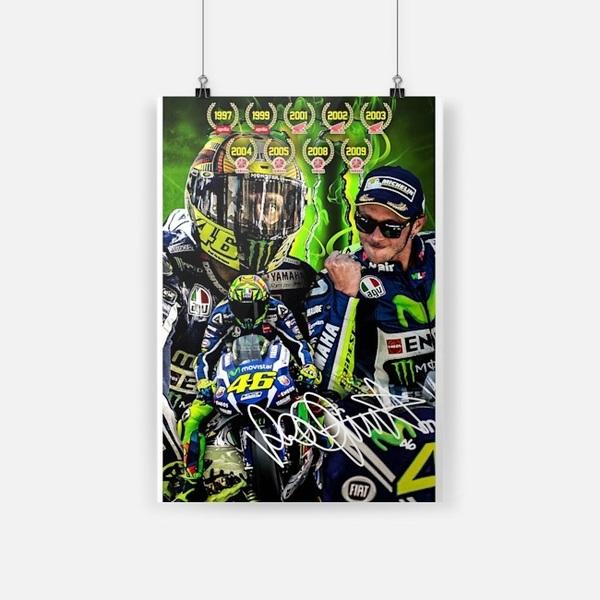 Valentino Rossi 46 signature small poster