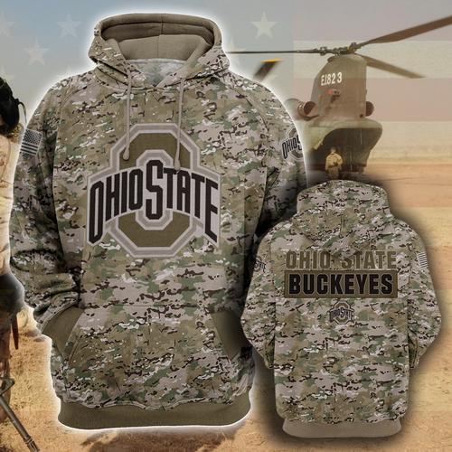Ohio state buckeyes camo style all over print hoodie