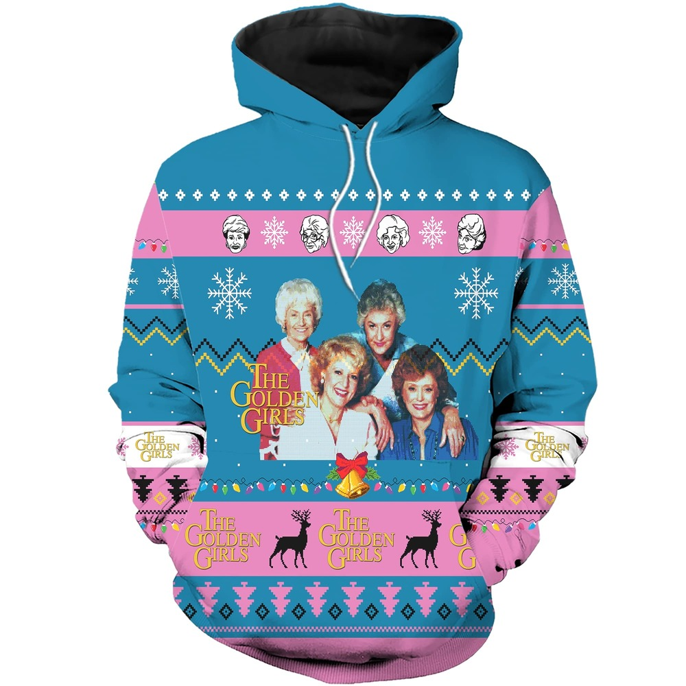 The golden girls tv show ugly christmas all over sweatshirt