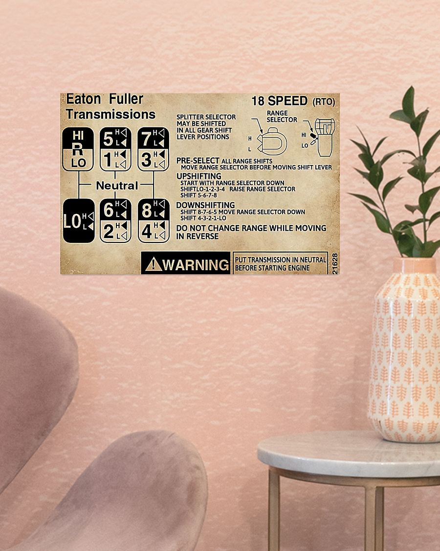 Trucker eaton fuller transmission warning Information poster