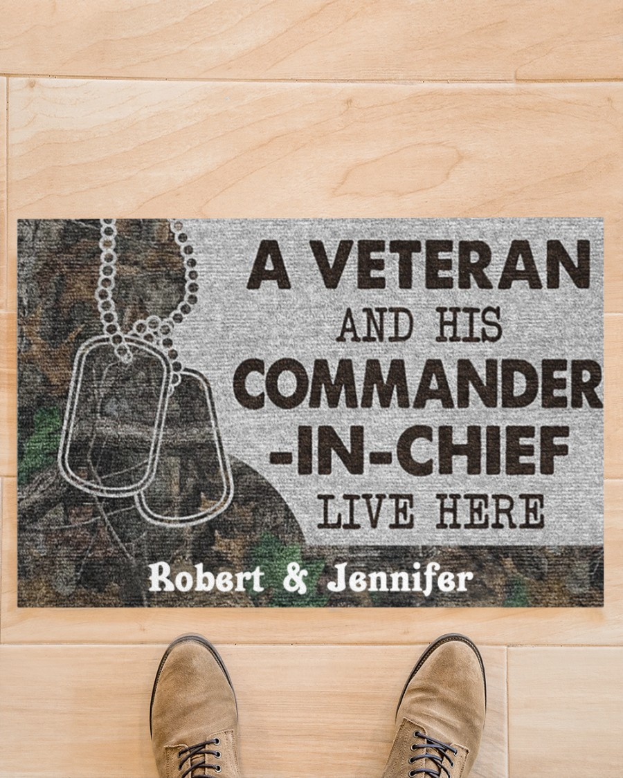A veteran and his commander in chief live here custom personalized name doormat