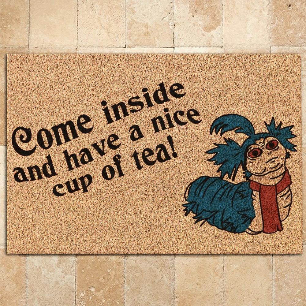 Labyrinth-Worm-Come-inside-and-have-a-nice-cup-of-tea-doormat