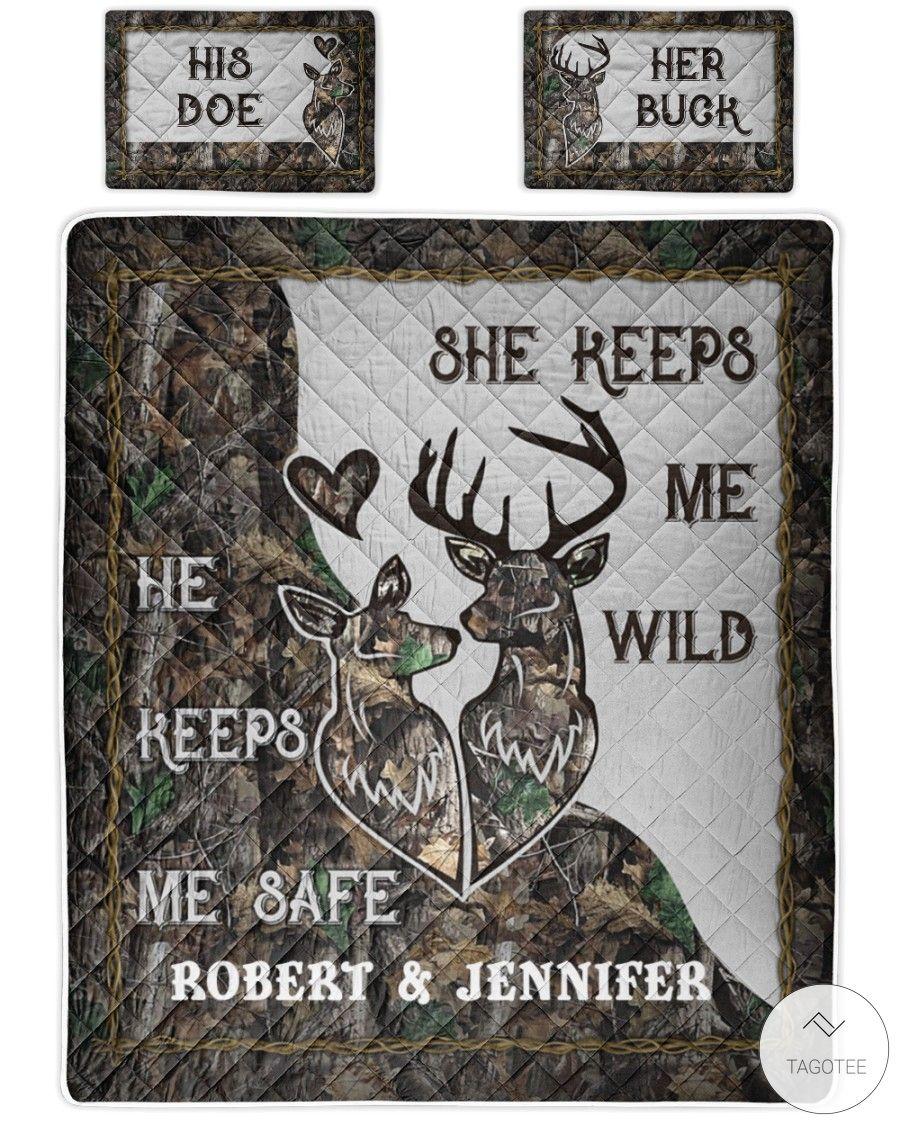 Personalized-Deer-Couple-Camo-He-keeps-me-safe-She-keeps-me-wild-bedding-sets