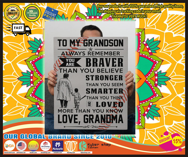 Poster Baseball to my grandson Always remember you are brave
