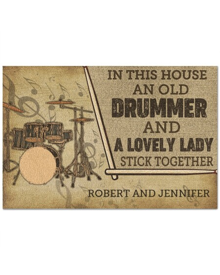 custom in this house an old drummer and a lovely lady all over print doormat