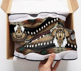 Top collection  native american wolf all over print air jordan 13 sneakers