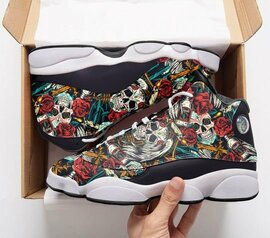 Top collection  skull tattoo pattern roses all over printed air jordan 13 sneakers