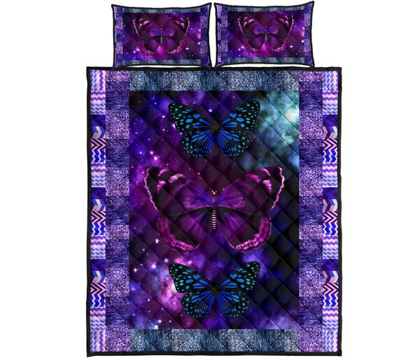 vintage butterfly galaxy full over print quilt