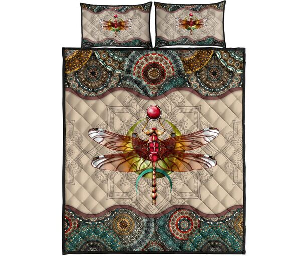 vintage dragonfly colorful all over print bedding set
