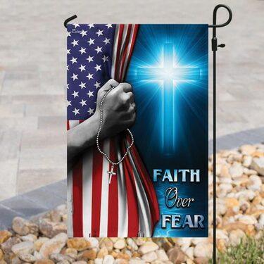 Top collection God cross faith over fear american flag all over print flag