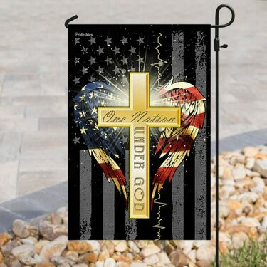 Top collection Jesus cross one nation under God american flag all over print flag