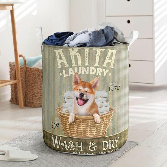 akita dog all over printed laundry basket