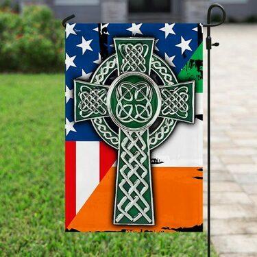 american flag celtic cross irish saint patricks day all over printed flag