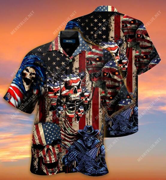 american flag skull all over printed hawaiian shirt