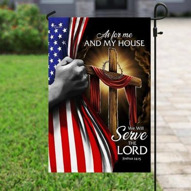 Top collection as for me and my house we will serve the Lord american flag all over print flag