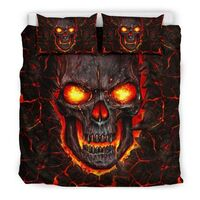 lava skull all over print bedding set