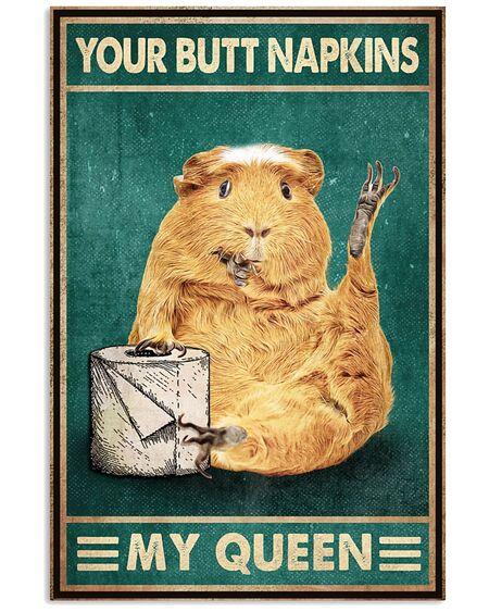 retro guinea pig your butt napkins my queen poster