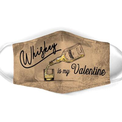 vintage whiskey is my valentine all over print face mask