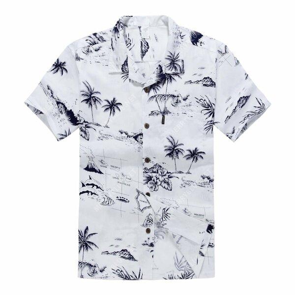 white map palm wave all over printed hawaiian shirt