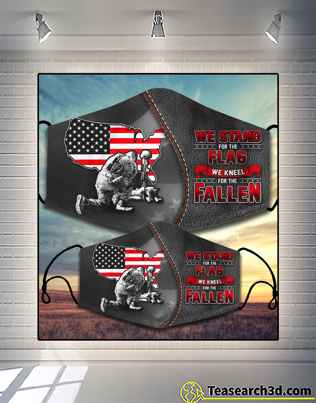 We stand for the flag we kneel for the fallen face mask