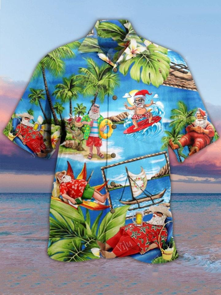santa surfing all over printed hawaiian shirt