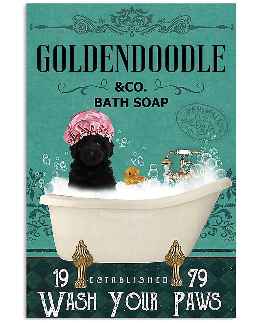 vintage black golden doodle bath soap wash your paws poster