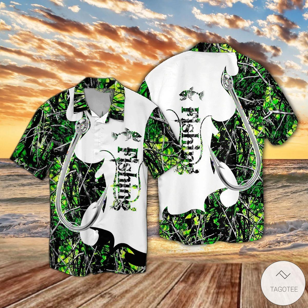 Fishing Camo Pattern Hawaiian Shirt