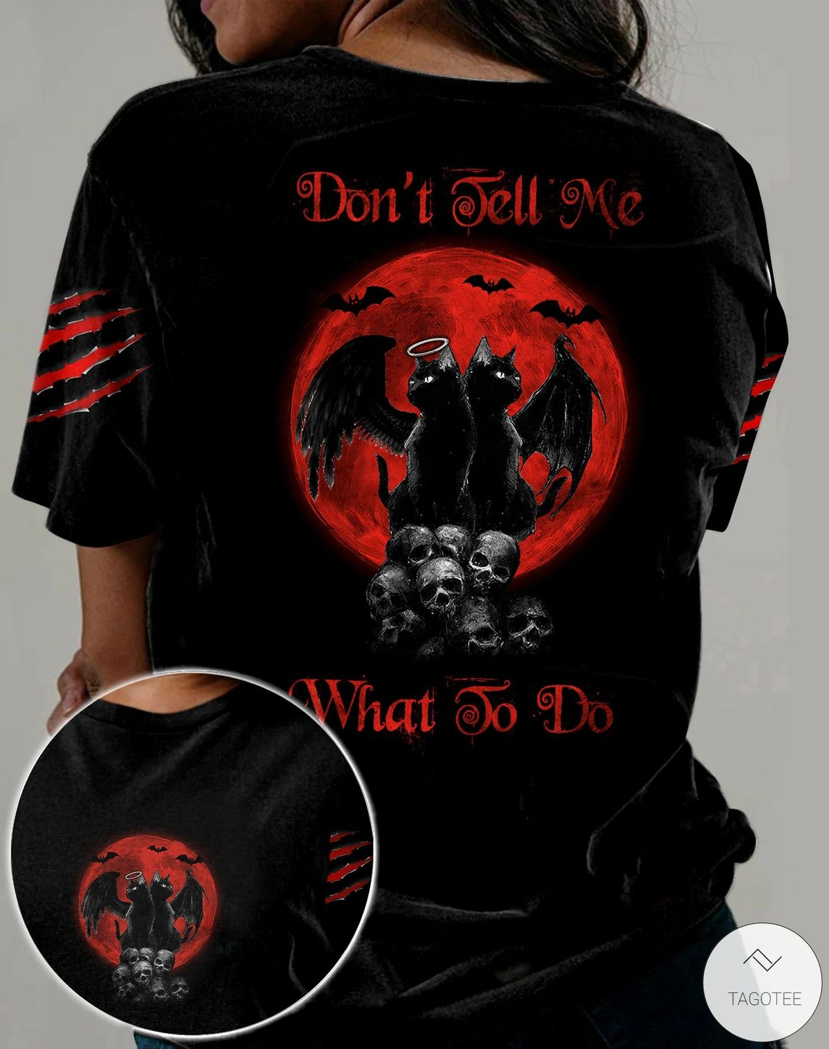 Skull Cats Don't Tell Me What To Do 3D All Over Print T-shirt, Hoodie
