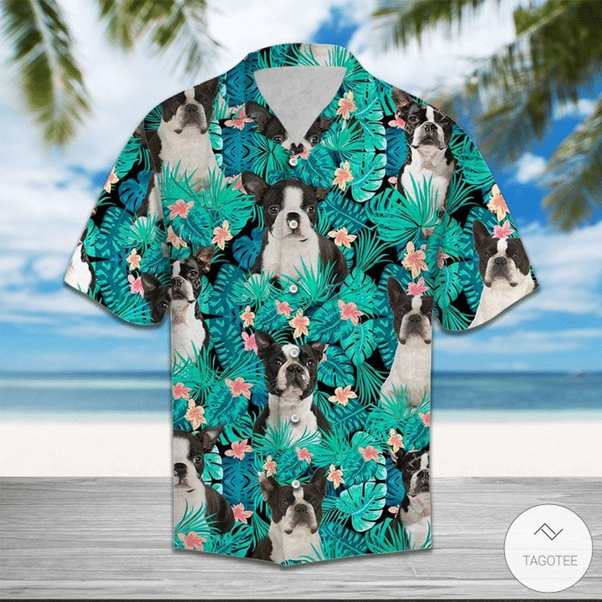 Boston Terrier Tropical Hawaiian Shirt