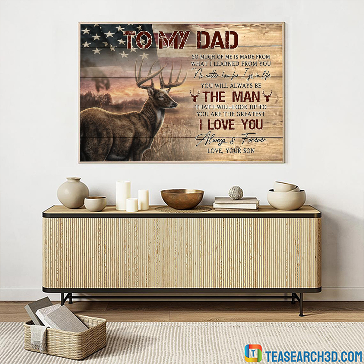 Deer flag to my dad your son canvas