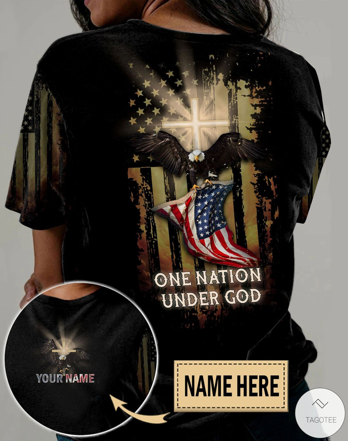 Personalized Jesus Cross Eagle One Nation Under God 3D All Over Print Shirt, Hoodie