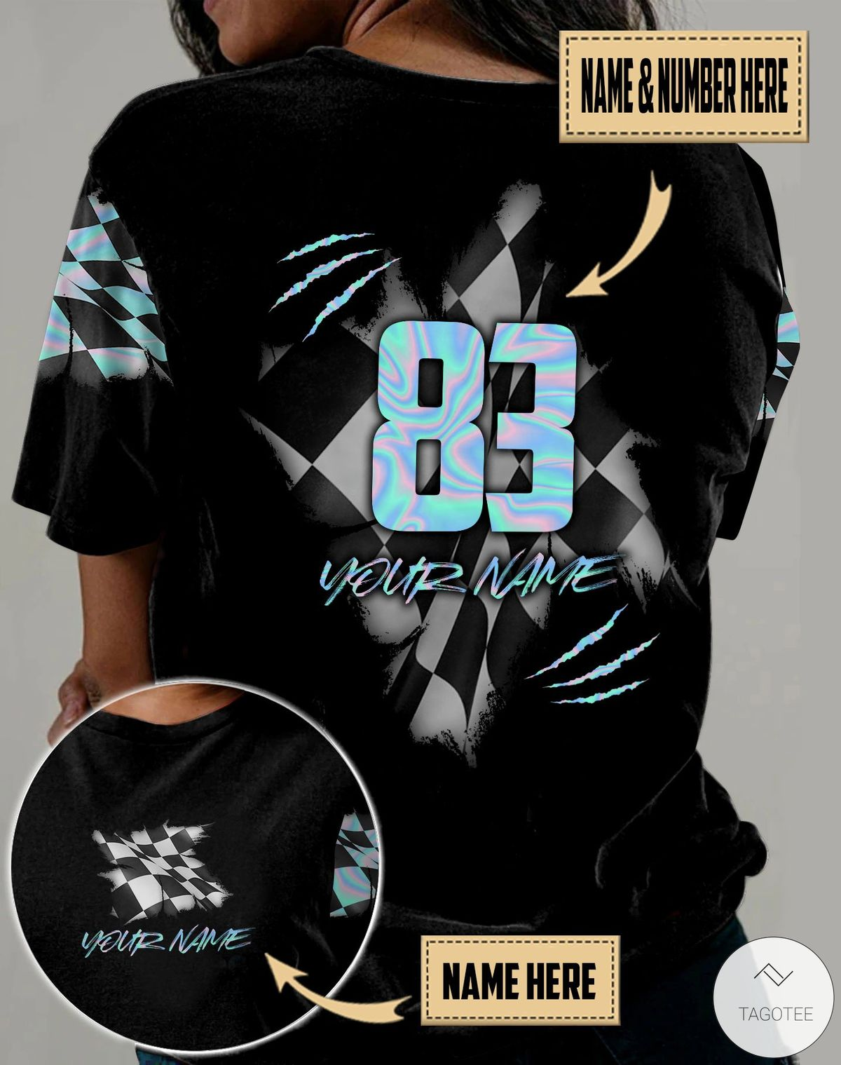 Personalized Name & Number Racing Hologram 3D All Over Print T-shirt, Hoodie