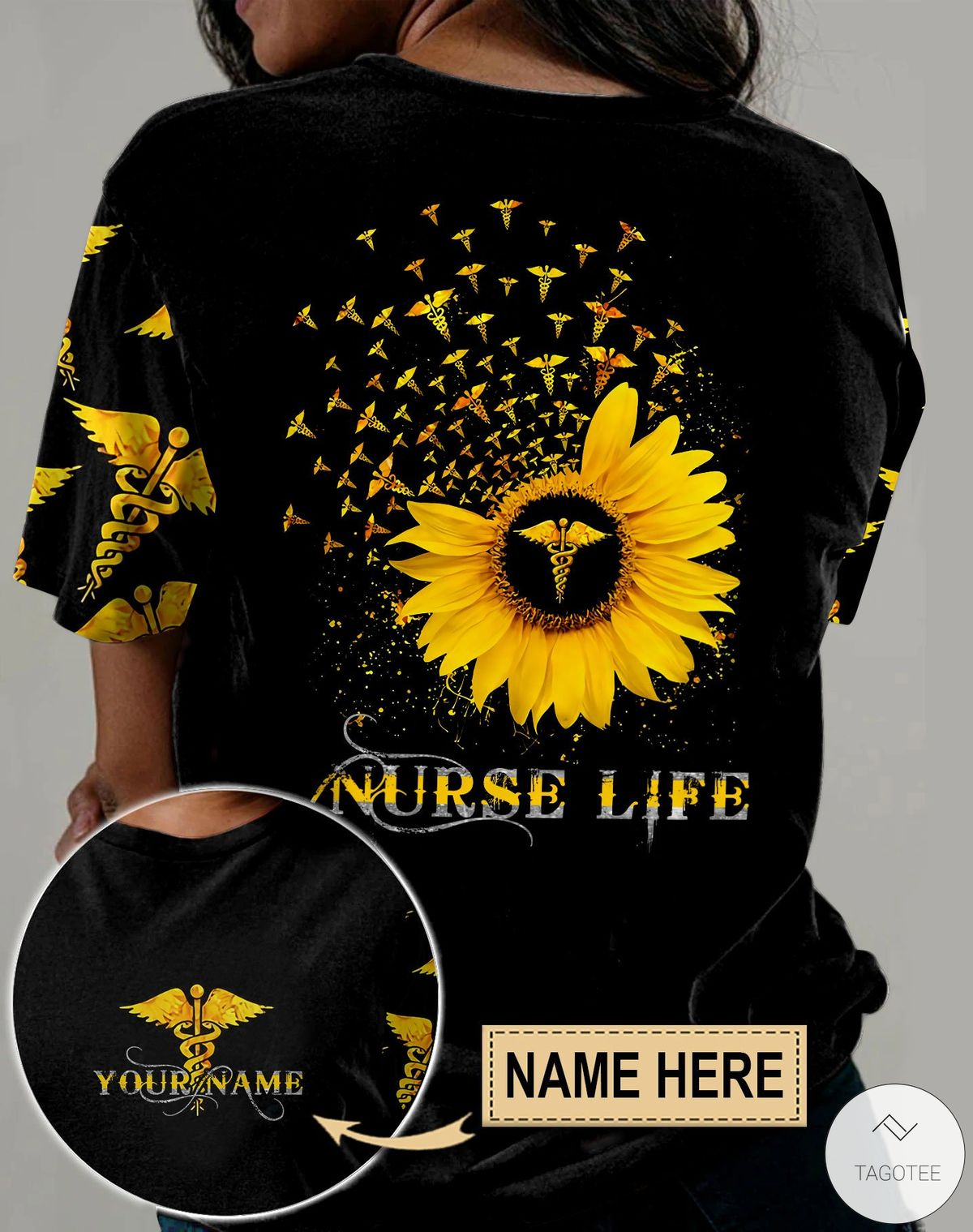 Personalized Nurse Life Sunflower 3D All Over Print T-shirt, Hoodie