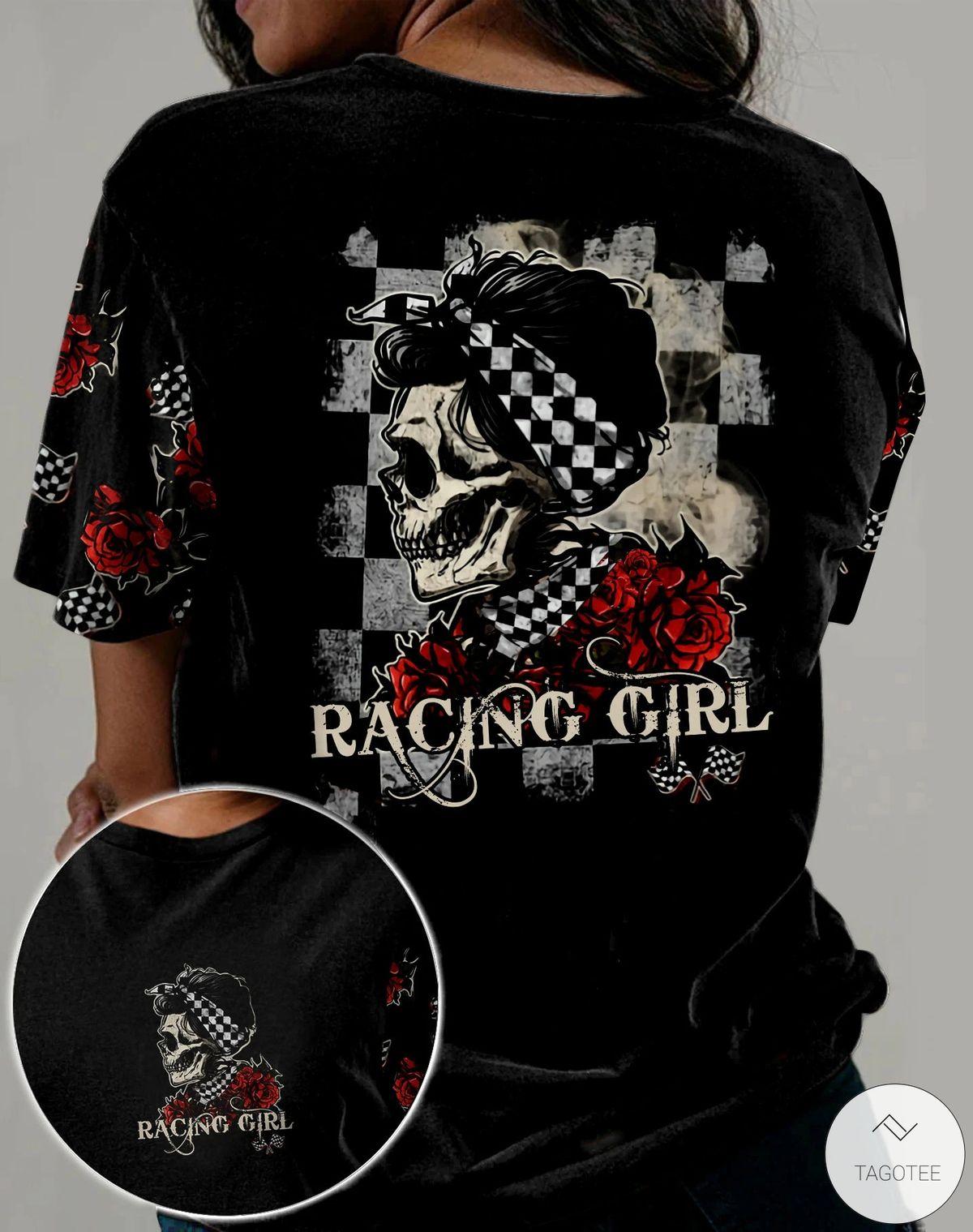 Skull Racing Girl Rose 3D All Over Print T-shirt, Hoodie