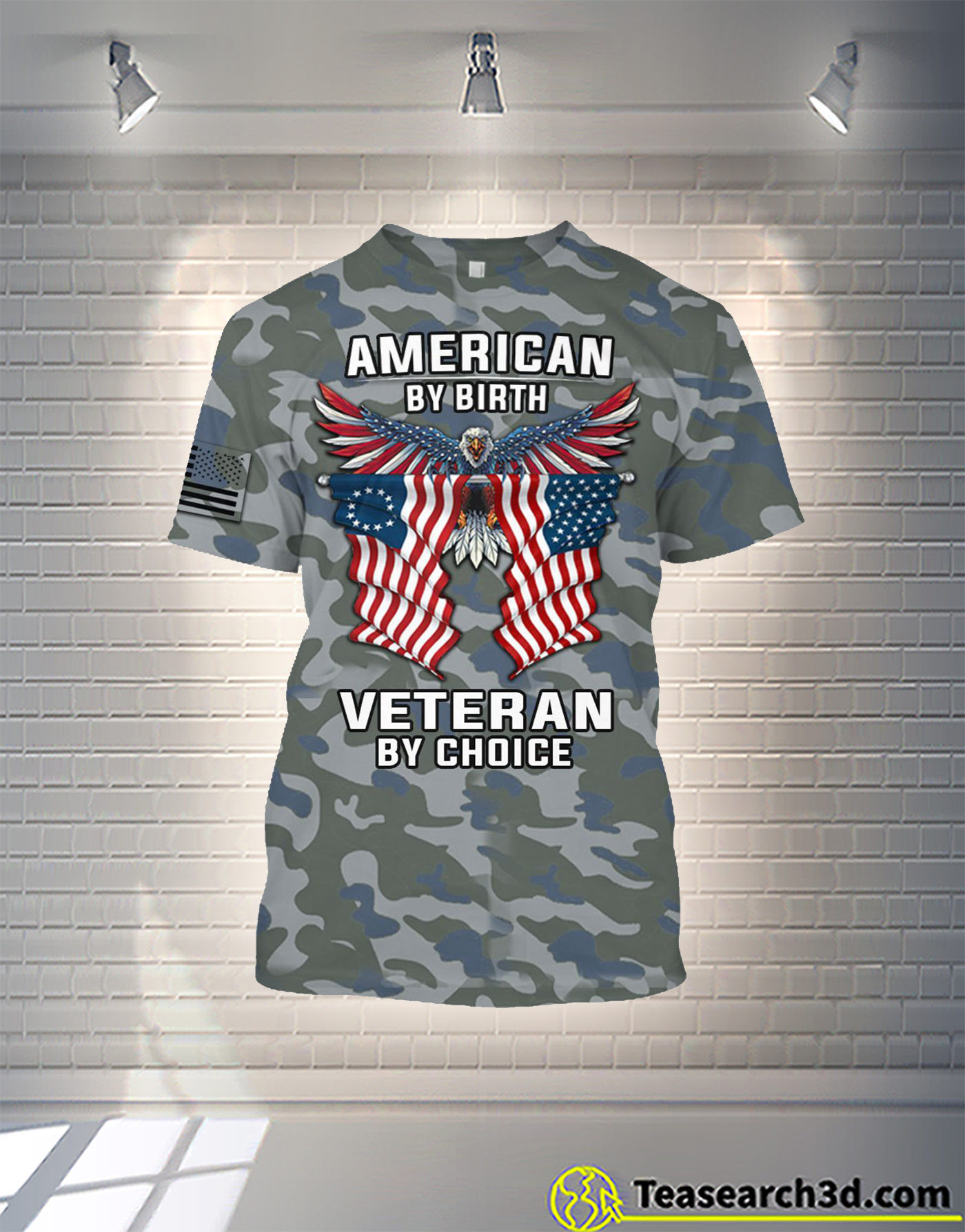 American by birth veteran by choice camo all over printed hoodie