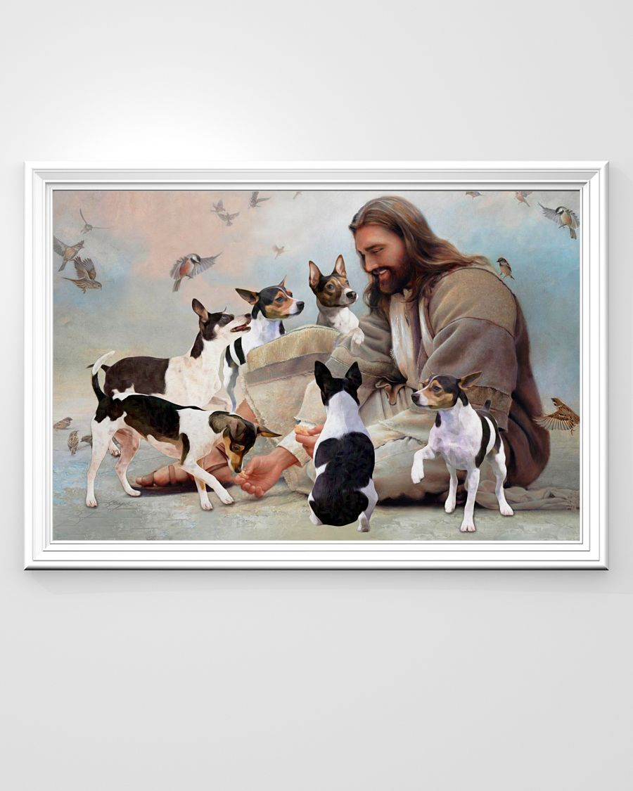 God surrounded by Rat Terrier angels poster