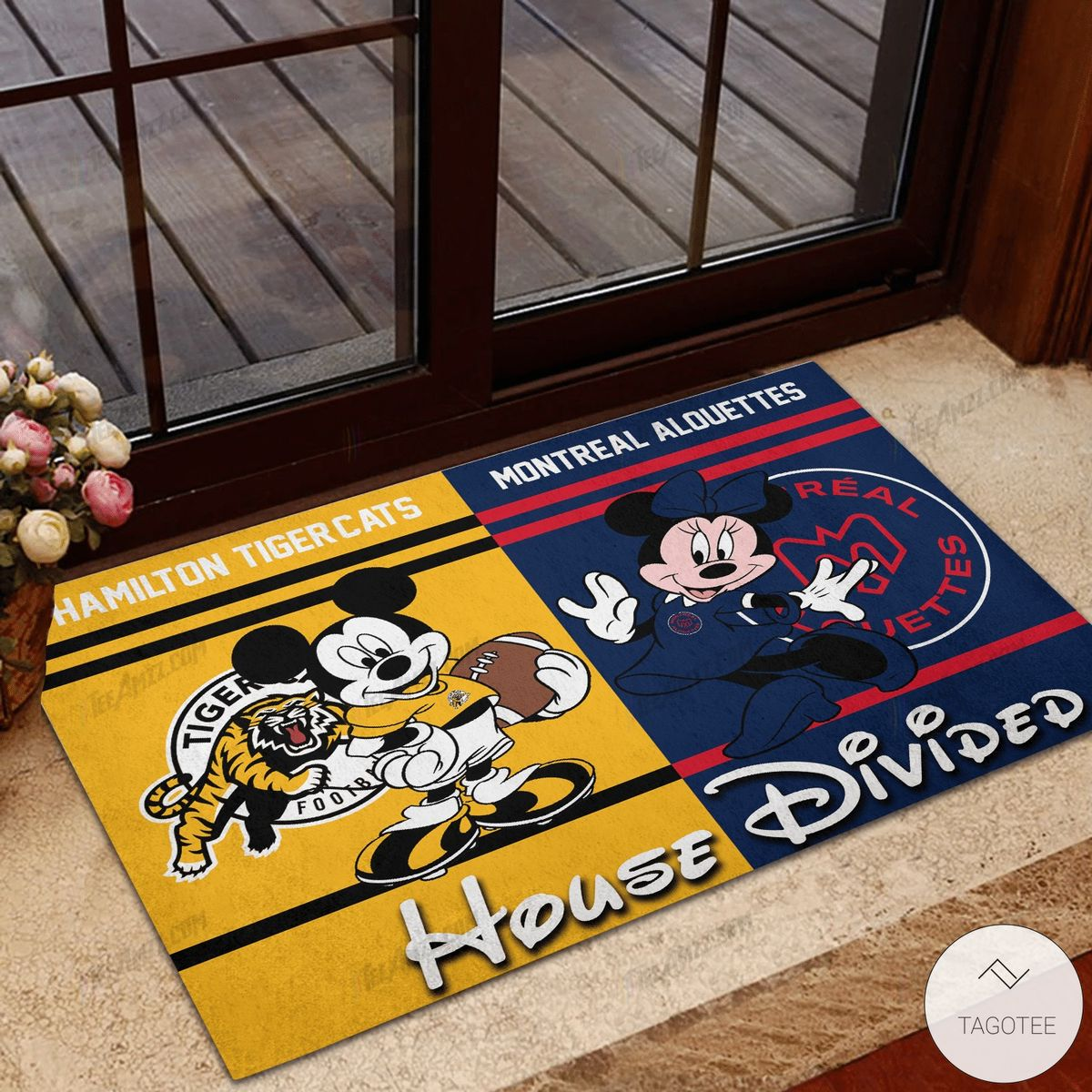 Hamilton Tiger Cats House Divided Montreal Alouettes Mickey Mouse And Minnie Mouse Doormat