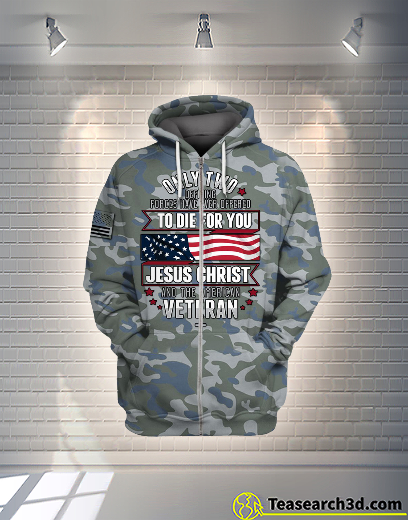 Jesus christ and the american veteran camo all over printed hoodie