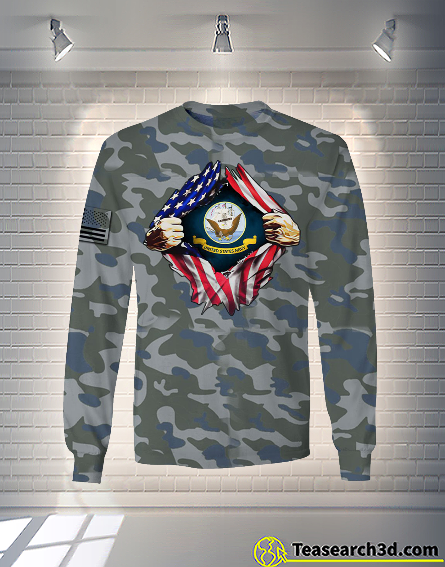 United States Navy camo all over printed hoodie
