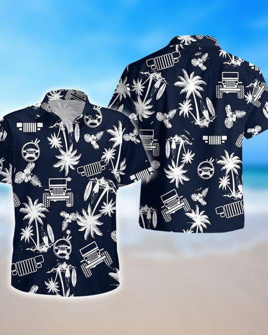 navy palm jeep all over printed hawaiian shirt