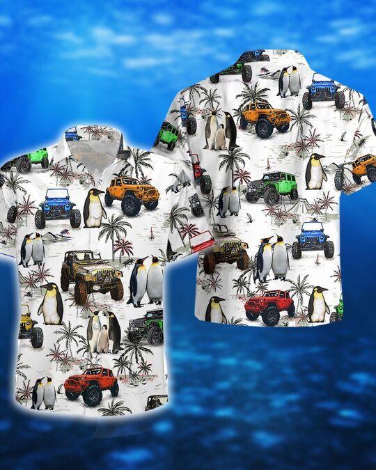 ocean penguin jeep all over printed hawaiian shirt